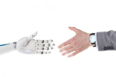 Cropped shot of robot and businessman reaching to each other to shake hands isolated on white stock vector
