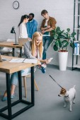 Photo smiling businesswoman taking picture of dog on leash and coworkers having meeting behind in modern office
