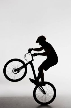 silhouette of trial biker standing on back wheel on white