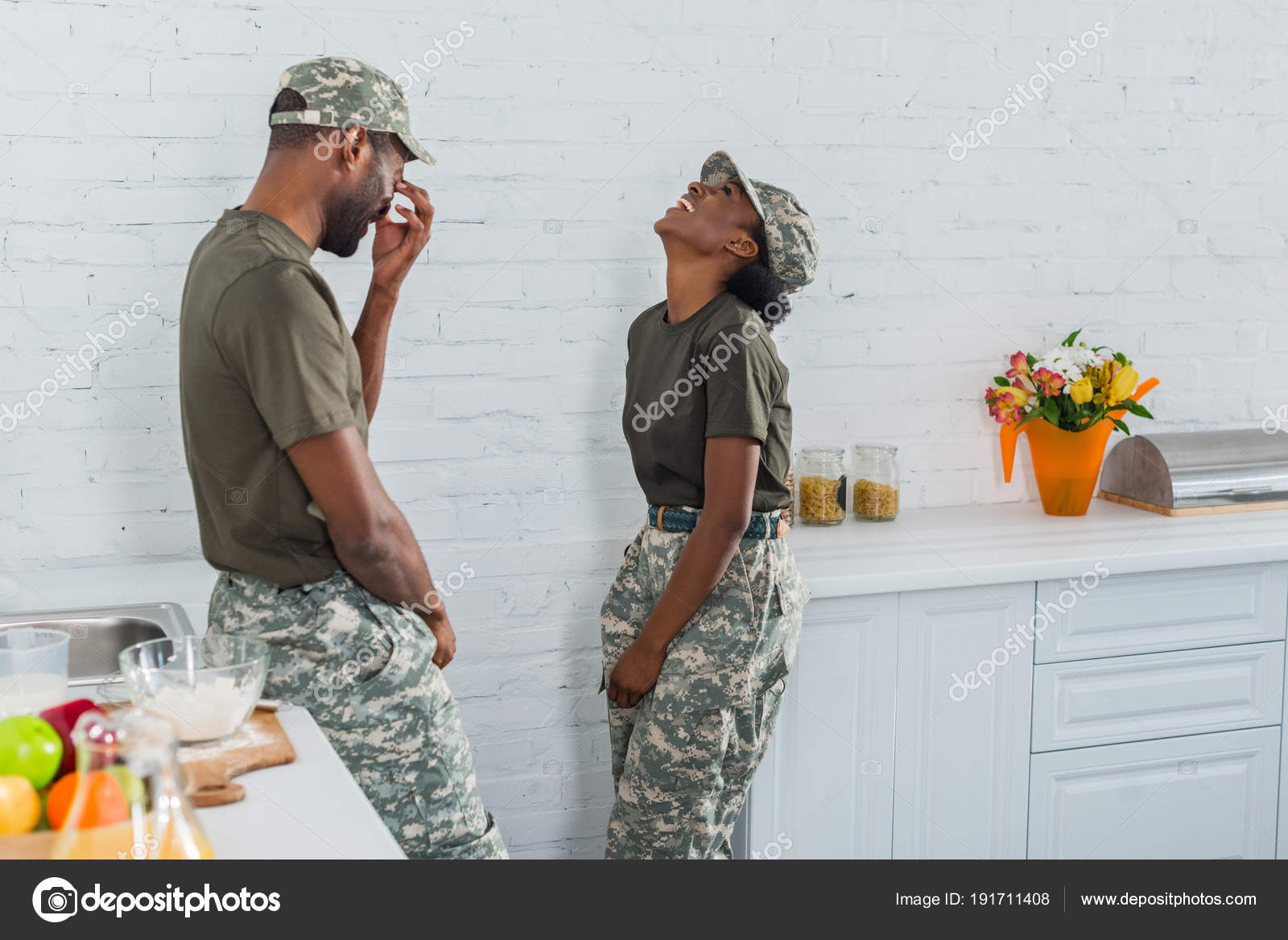 Couple African American Soldiers Laughing Together Kitchen — Stock ...