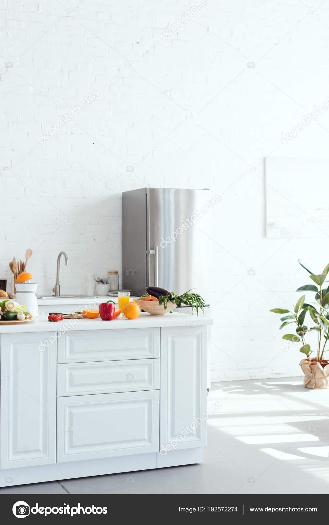 Interior Light Modern Kitchen Fruits Vegetables Kitchen Counter ...