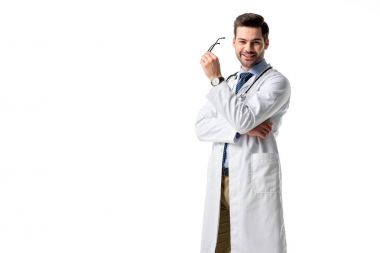 Smiling medical worker wearing white coat with stethoscope isolated on white