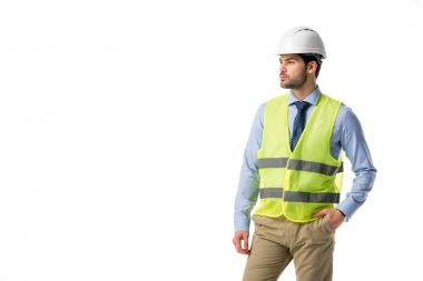 Confident architect in reflective vest isolated on white stock vector