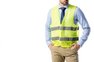 Cropped view of bearded builder in reflective vest isolated on white