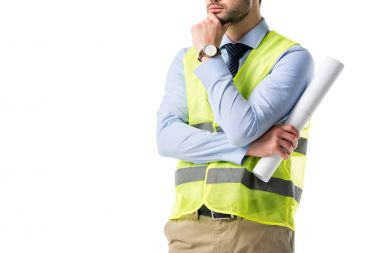 Thoughtful builder in reflective vest holding blueprint isolated on white