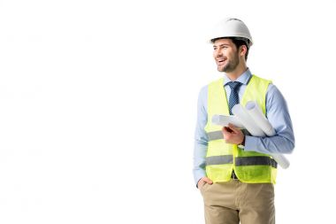 Cheerful construction worker in reflective vest and helmet holding blueprints isolated on white