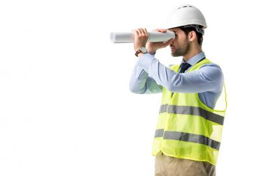 Architect in reflective vest looking through blueprint isolated on white
