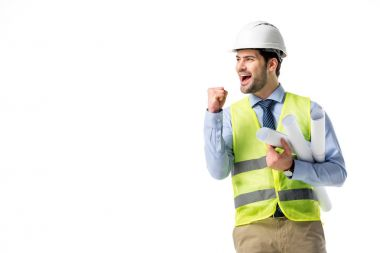 Successful builder in reflective vest and hard hat holding blueprints isolated on white