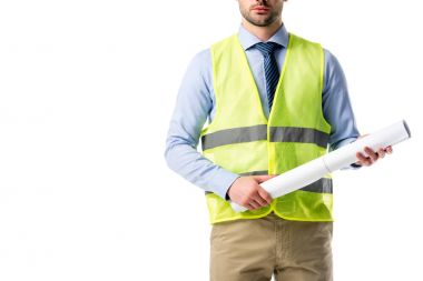 Cropped view of builder in reflective vest holding blueprint isolated on white
