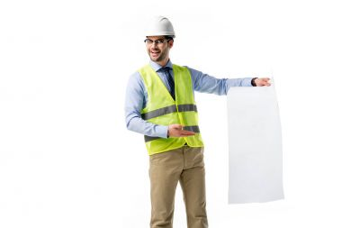 Architect in reflective vest and hardhat presenting blank blueprint isolated on white stock vector