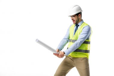 Builder in reflective vest and helmet holding blueprint as a sword isolated on white