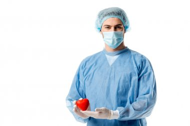 Surgeon in blue medical uniform and medical mask and holding toy heart isolated on white
