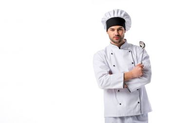 portrait of chef with soup ladle in hand isolated on white