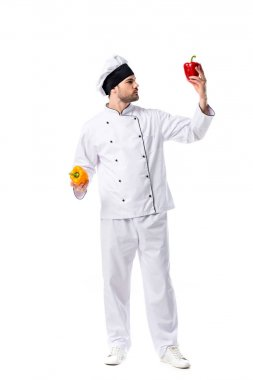 young chef in uniform with fresh bell peppers in hands isolated on white
