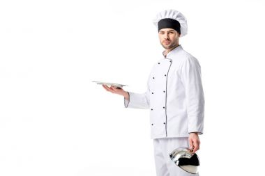 portrait of chef with empty serving tray isolated on white