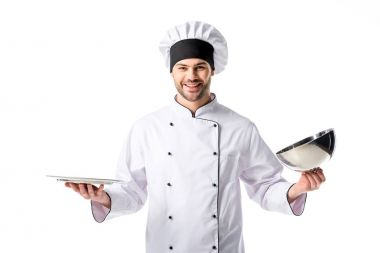 portrait of smiling chef with empty serving tray isolated on white
