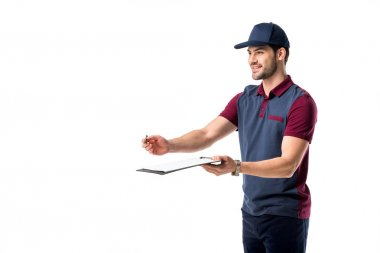 smiling delivery man with pen and notepad isolated on white