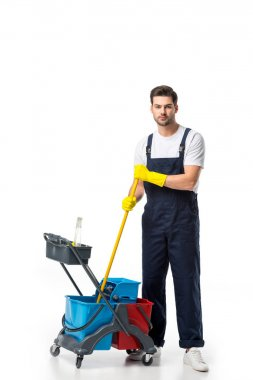 cleaner in uniform and rubber gloves with cart isolated on white