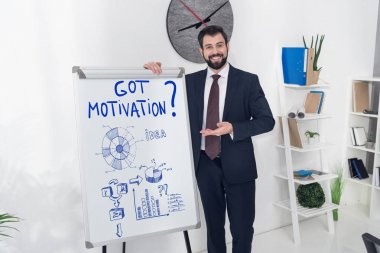 smiling businessman pointing at whiteboard with got motivation inscription and business graphs in office