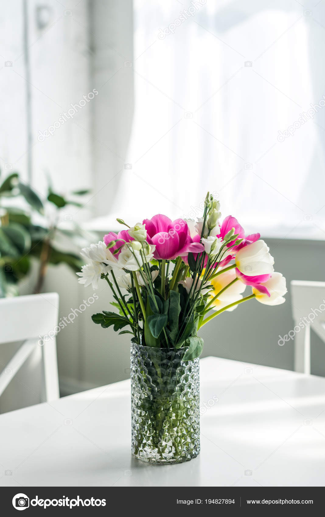 Bouquet Beautiful Colored Flowers White Tabletop Kitchen Stock