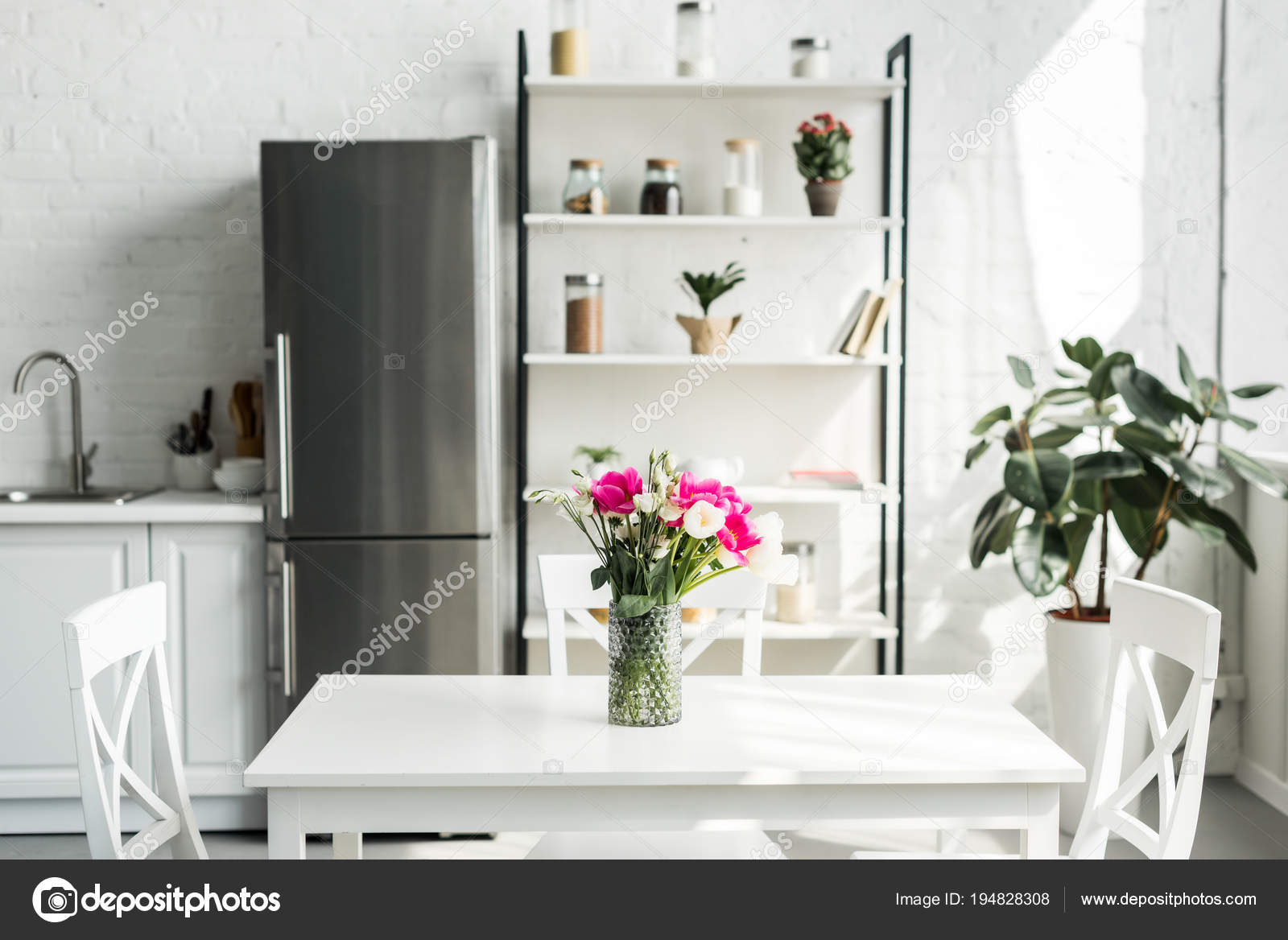 Interior Modern Light Kitchen Bouquet Tulips Table — Stock Photo ...