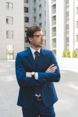 handsome young businessman in stylish suit with crossed arms looking away