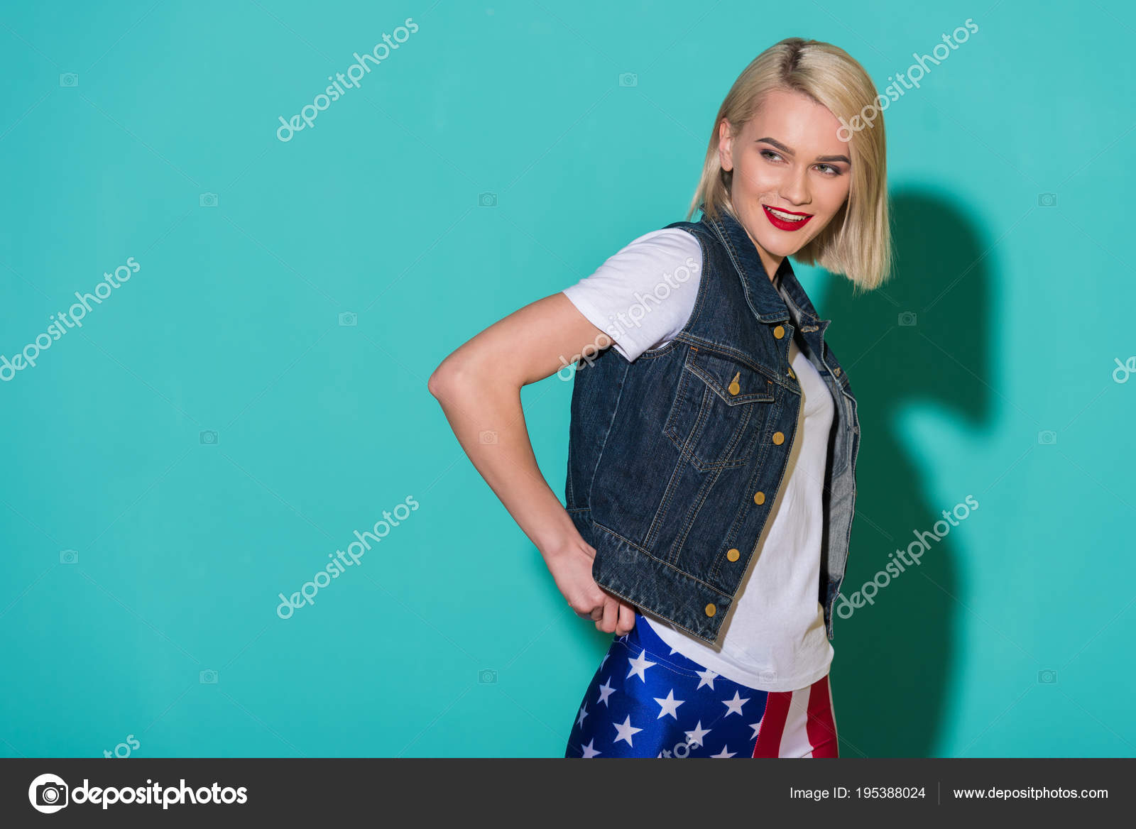 Side View Smiling Stylish Woman White Shirt Denim Jacket Leggings