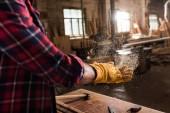 Fotografie Oříznout záběr ze řemeslník v ochranné rukavice setřásl štěpka z rukou na pile
