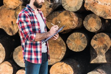cropped shot of bearded lumberjack in checkered shirt writing in clipboard on logs background