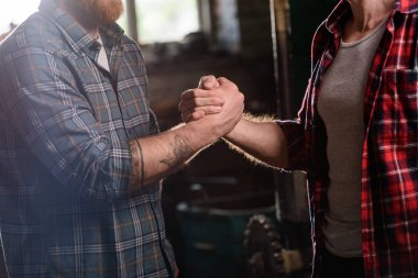 cropped image of carpenter with tattooed hand shaking hand of partner at sawmill