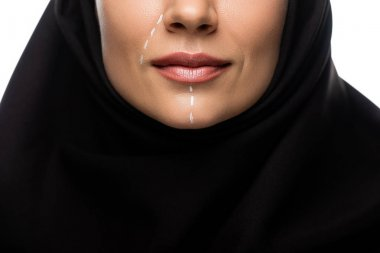 Cropped view of young Muslim woman in hijab having marks on face for plastic surgery isolated on white stock vector