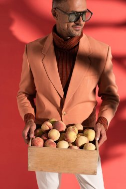 happy man in sunglasses holding box with sweet peaches on red with shadows