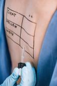 selektiver Fokus des Arztes, der Pipette in der Nähe von Frau mit Buchstaben auf markiertem Rücken hält