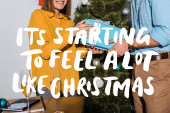 oříznutý pohled na muže dávat dárek ženě v blízkosti vánočního stromečku s jeho začíná cítit hodně jako vánoční ilustrace