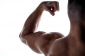 oříznutý pohled na svalnatý kulturista ukazující triceps ve stínu izolovaném na bílém