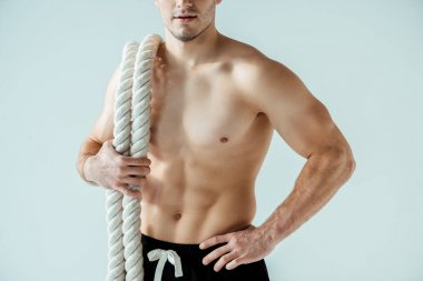 cropped view of sexy muscular bodybuilder with bare torso posing with battle rope isolated on grey