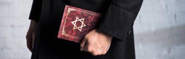 Panoramic shot of young jewish man holding tanakh stock vector