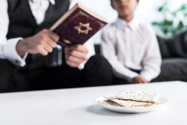 Selective focus of matza on plate and jewish father and son on background stock vector
