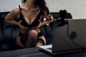 Cropped view of seductive girl in lingerie and stockings showing breast to laptop with web camera