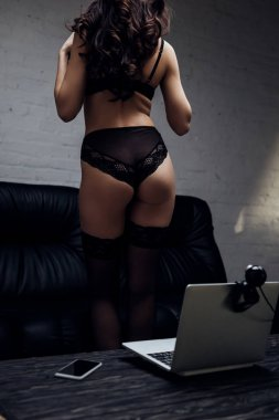Cropped view of sexy girl in black lingerie posing at laptop with web camera on table stock vector