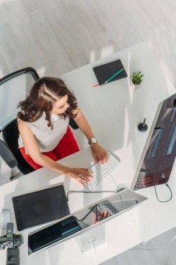 Top view of art editor working in studio stock vector