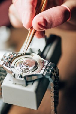 Close up view of watchmaker repairing mechanical wristwatch on movement holder