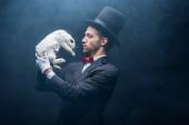 profesionální kouzelník v obleku a klobouku při pohledu na bílého králíka, tmavý pokoj s kouřem