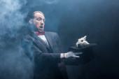 vyděšený kouzelník držící bílého králíka v klobouku, tmavý pokoj s kouřem