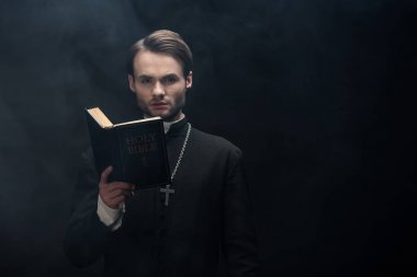 Young serious catholic priest looking at camera while reading bible on black background with smoke stock vector