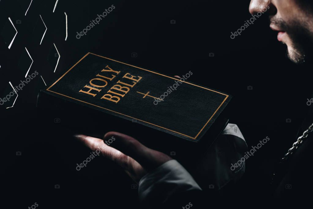 Cropped view of catholic priest holding holy bible near confessional grille in dark with rays of light stock vector