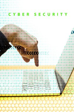 Cropped view of hacker pointing with finger at laptop near cyber security lettering on white stock vector