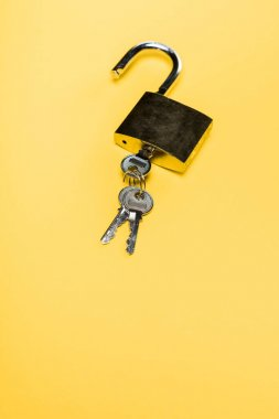 Metallic padlock with keys isolated on yellow stock vector