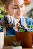 Selektiver Fokus einer glücklichen Frau in Handschuhen, die eine kleine Schaufel hält, während sie Pflanzen im Blumentopf pflanzt