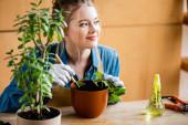 Fotografie selektivní zaměření šťastné ženy v rukavicích s malou lopatou při transplantaci rostliny v květináči